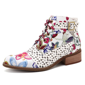 SOCOFY Handmade Painting Stitching Leather Zipper Boots