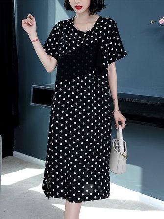 Women Casual Polka Dot Short Sleeves O-neck Dress