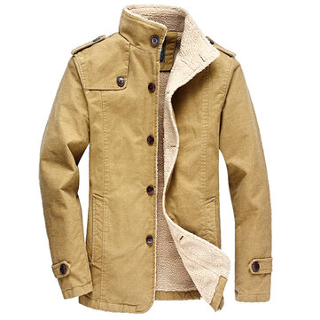 Sim Fit Fleece Warm Winter Single Breasted Mid Long Jackets