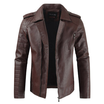 Mens Faux Leather Fleece Warm Lapel Collar Slim Zipper Jacke