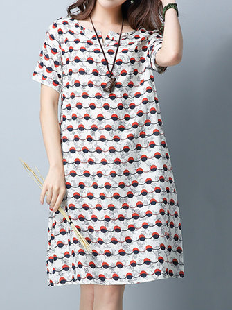 Casual Women Polka Dot Printed Short Sleeve Dress