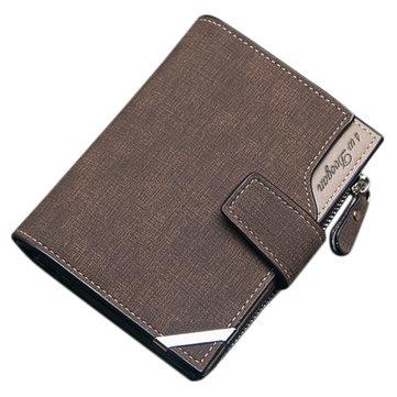 14 فتحات بطاقة الرجال بو الجلود العمودي ثلاثي أضعاف محفظة متعددة الوظائف الترفيه حامل البطاقة
