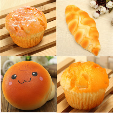 4PCS Squishy Cake Bread Slow Rising Toy Keychain Bag Phone Charm Strap