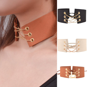 Vintage Folk Style Necklace Velvet Clavicle Collar Necklaces