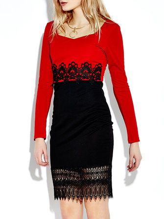 Women Lace Red Pencil Dress With Patchwork Long Sleeve