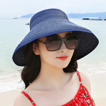 Women Lady Foldable Roll Up Wide Brim Beach Sun Straw Hat Outdoor Gardening Summer Visor Cap