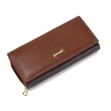 Women Long Zipper Wallet Large Leather Buckle Clutch Bag