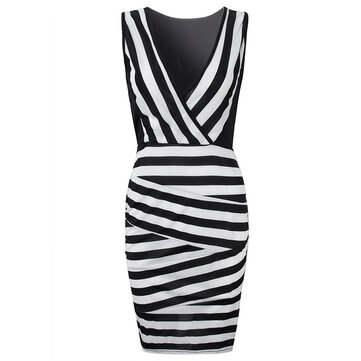 Sexy Women Sleeveless V Neck Stripe Patchwork Bodycon Dress