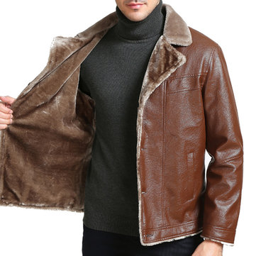 Mens Faux Leather Fleece Lining Thick Warm Suit Collar Casual Jacket