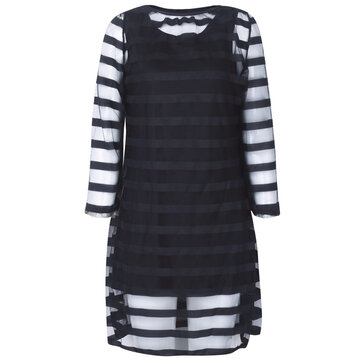 Women Plus Size Mesh Hollow Out Stripe Bodycon Dress