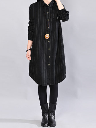 Casual Loose Stripe Stand Collar Long Sleeve Shirt Dresses