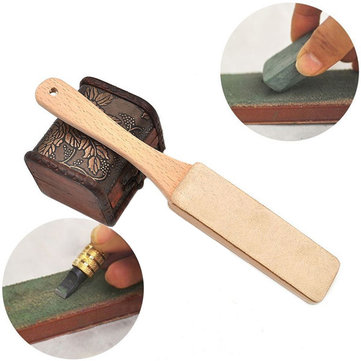 Wood Handle Leather Sharpening Strop for Razors Knives Polish Compound