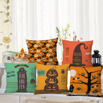 Halloween Pumpkin Bat Owl Pattern Pillowcase Cotton Linen Throw Pillow Cushion Cover Seat Home Decoration Sofa Decor