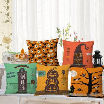 Halloween Pumpkin Bat Owl Pattern Pillowcase Cotton Linen Throw Pillow Cushion Cover Seat Home Decoration Sofa Decor