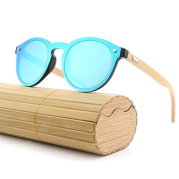 Men Women Anti-UV Bamboo Frame Polarized Sunglasses