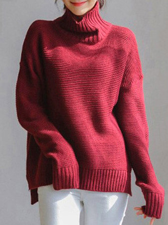 Casual Women Loose Solid Color Turtleneck Sweaters
