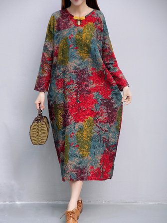 Plus Size Vintage Women Floral Printed Dresses