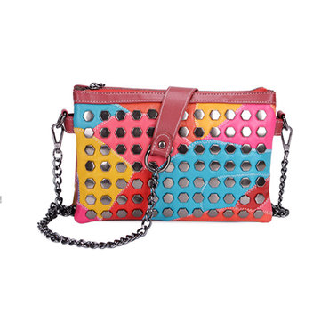 Women Genuine Leather Patchwork Rivet Crossbody Bag
