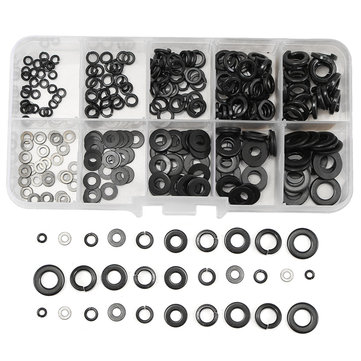 280Pcs 10 Values Stainless Steel Flat Washer Spring Washers Assortment Set