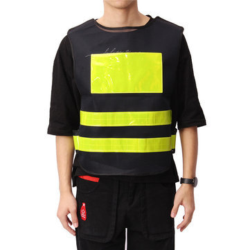 Safety Reflective Vest Black Reflective Clothes Grid Cloth