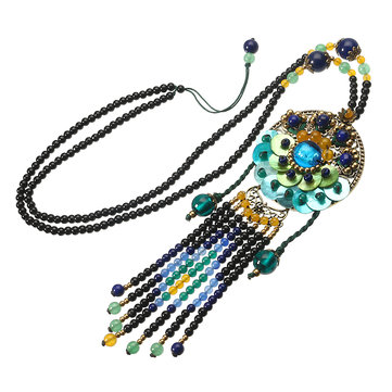 Ethnic Necklace Vintage Beads Blue Jade Necklace Wholesale for Women