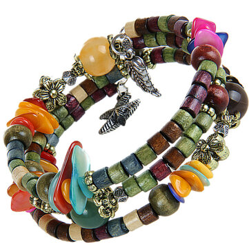 Vintage Multilayer Tibetan Buddhist Colorful Long Wood Beaded Unisex Bracelet Gift