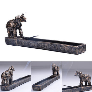 Elephant God Design Incense Burner Joss Stick Holder Resin Figurine Statue Home Room Decor
