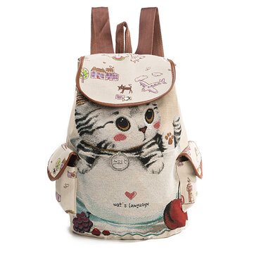Canvas Casual Cartoon Cat Pattern School Bag Backpack Shoulder Bags Student Bags