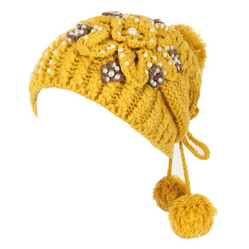 Women Girl Crochet Knitting Woven Flower Caps Slouch Beanie Hanging Ball Bead Decorative Hat