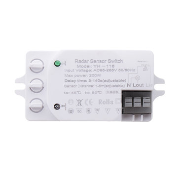 200W Adjustable Microwave Radar Sensor Light Switch Detector for Panel Fluorescent Lamps AC85-265V