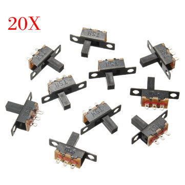 200Pcs Black Mini Size SPDT Slide Switches On-Off 100V 2A DIY Material Toggle Switch