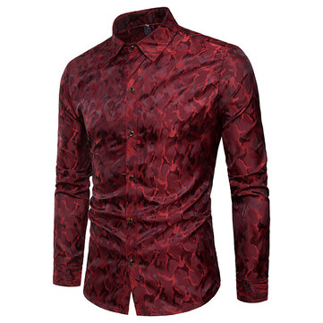 Mens Bright Camo Printing Shirt Long Sleeve Single-breasted Stage Nightclub Casual Shirts