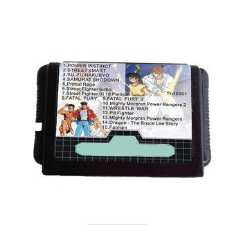Cartouche de jeu noire 16 bits 15 en 1 pour lecteur MD Sega Mega