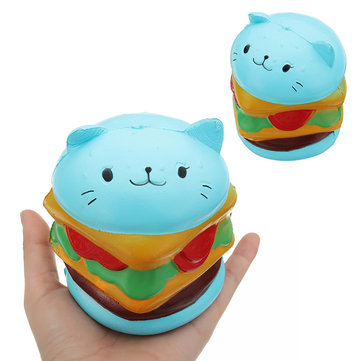 Burger Cat Squishy 10.5*9.5 CM Slow Rising Collection Gift Soft Fun Animal Toy