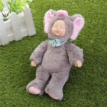 25cm Light Grey Elephant Clothes Newborn Sleeping Soft Vinyl Reborn Baby Doll Gift Toy