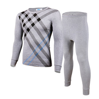 Mens Thermal Underwear Suit Winter 100% Cotton Warm Elastic Large Long Round Collar Male Set