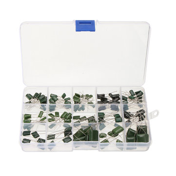 150 Pcs Polyester Poly Film Capacitors 0.47nF-470nF 15 Value Assortment Box Kit