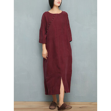 Vintage Women 3/4 Sleeve Solid Color O-Neck Pocket Dress with Decorative Button