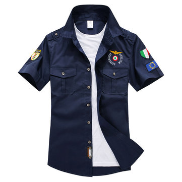 ASSTSERIES Epaulets Military Embroidery Cotton Work Shirts