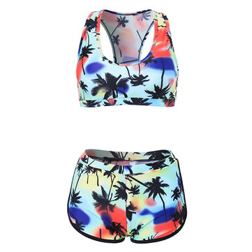 Sexy Hot Floral Quiet Sunset Print Swimwear Bikini Sets Sporty Swimsuit Bathing Wear