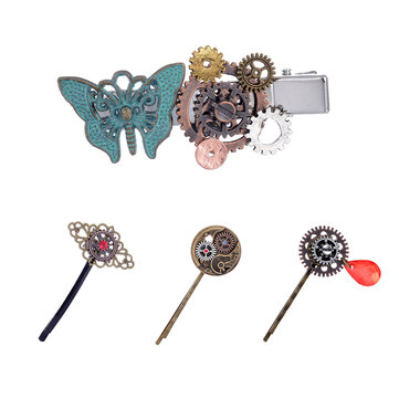 Steampunk Gear Butterfly Women's Hair Clip Goth Punk Vintage Hair Accessories Jewelry for Women