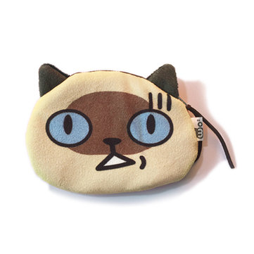 Women 3D Cat Face Coin Bags Girls Zipper Animal Case Money Wallet