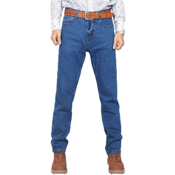 Mens High Rise Cotton Business Casual Straight Leg Jeans