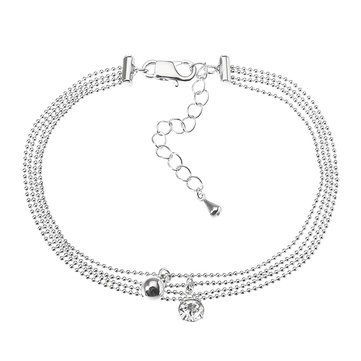 JASSY® Platinum Plated Rhinestone Multilayer Simple Foot Chain Anklet Fine Jewelry for Women
