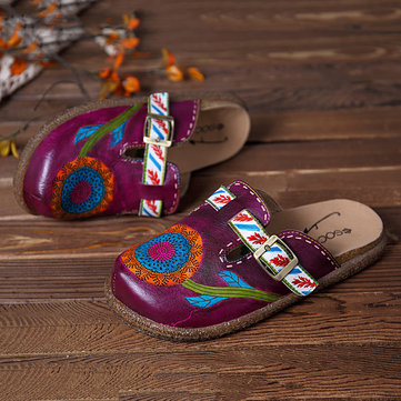 SOCOFY Genuine Leather Handmade Pattern Casual Sandals