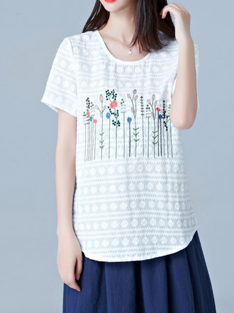 Women Vintage Short Sleeves Embroidery Cotton Blouse