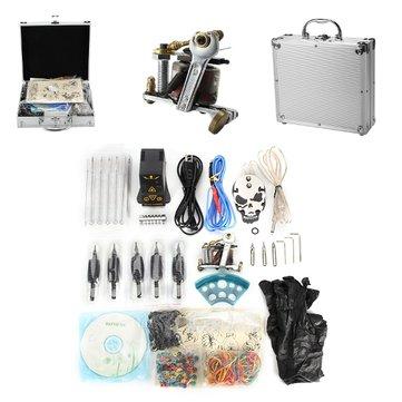 Senior Tattoo Coil Machine Kit EP-2 Power Supply Skull Pattern Pedal Suit