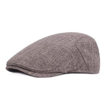 Men Summer Linen Adjustable Painter Beret Hat Classic Gatsby Newsboy Hunting Caps