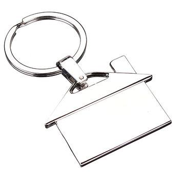 Creative Metal Chrome House Model Key Chain Keyring Pendant Gift Decor Silver