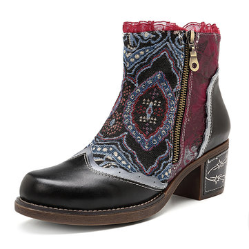 SOCOFY Bohemian Splicing Lace Pattern Zipper Ankle Leather Boots